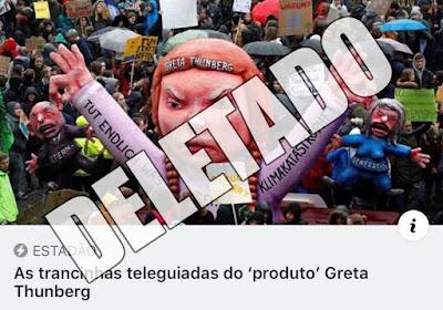 """Print do compartilhamento do antigo texto """"As trancinhas teleguiadas do 'produto' Greta Thunberg"""", exibindo uma imagem de uma manifestação com um boneco gigante, de rosto carrancudo, da ambientalista sueca, o título do texto e a palavra """"Deletado"""" por cima da imagem"""