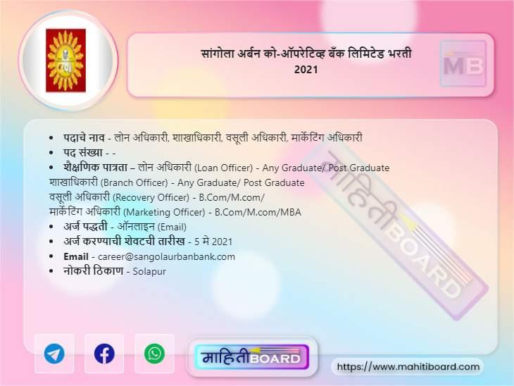 Sangola Urban Co-operative Bank Bharti 2021