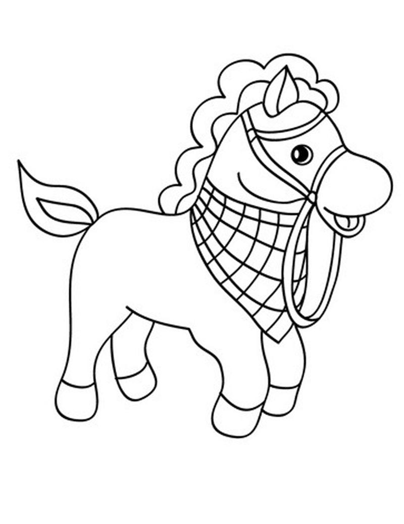 Gambar Mewarnai Kuda Poni Anak Paud Tk 2 Diwarnai