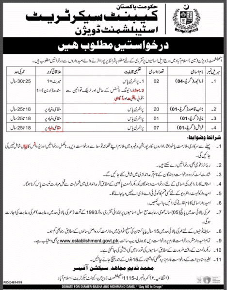 Jobs in Establishment Division Islamabad 2020