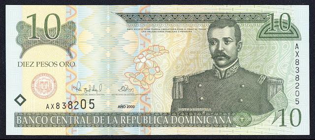 Dominican Republic currency 10 Pesos Oro banknote 2000 Matías Ramón Mella