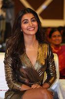 Pooja Hegde looks glamarous in deep neck sleevless short tight golden gown at Duvvada Jagannadham thank you meet function 154.JPG