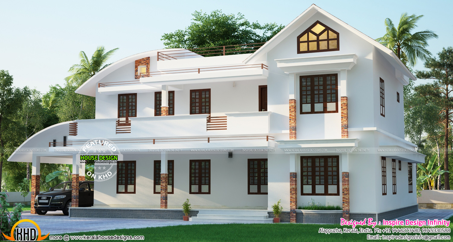 modern-curved-roof-view Kerala Home Design With Long Veranda on modern mountain home designs, enclosed pergola designs, best energy efficient home designs, homes with flat roof designs, homes with carport designs, front verandah designs, mobile home designs, spanish home designs,