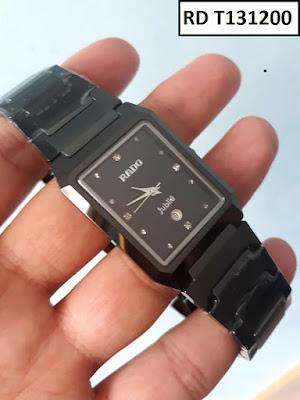 Đồng hồ nam mặt chữ nhật dây đá ceramic đen RD T131200