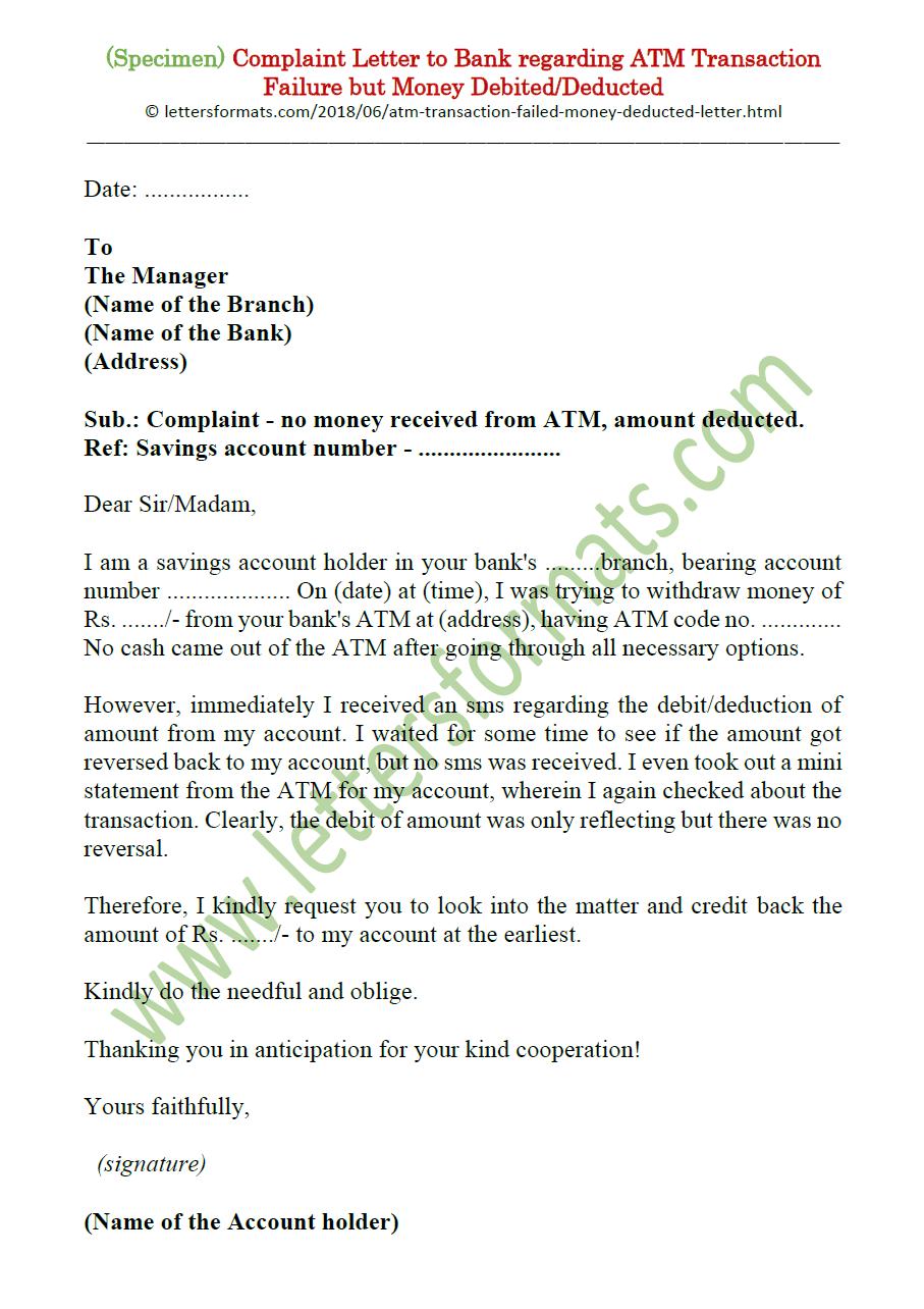 complaint letter regarding bank charges