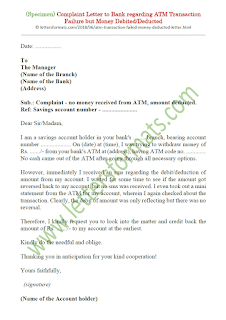 atm transaction failed money deducted complaint letter to bank