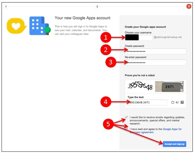 Google apps step 3 sign up process