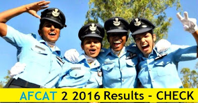 AFCAT 2 2016 Results - 28th August 2016 Exams'