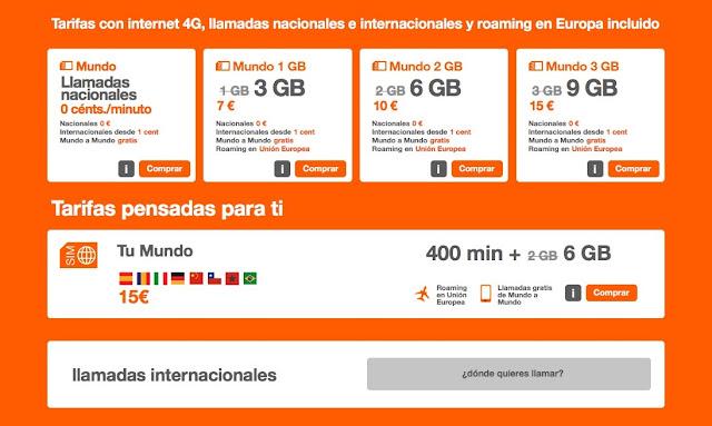 Orange tarifas Mundo en promoción