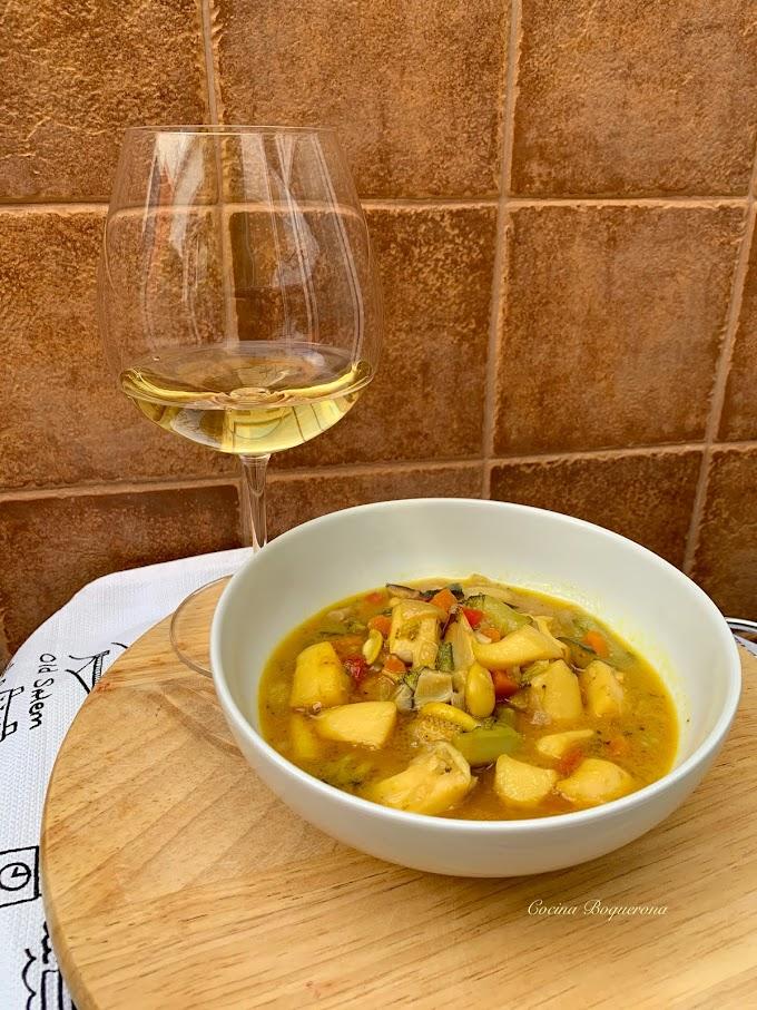 Jibia en salsa con verduras
