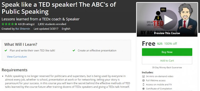 [100% Off] Speak like a TED speaker! The ABC's of Public Speaking| Worth 25$