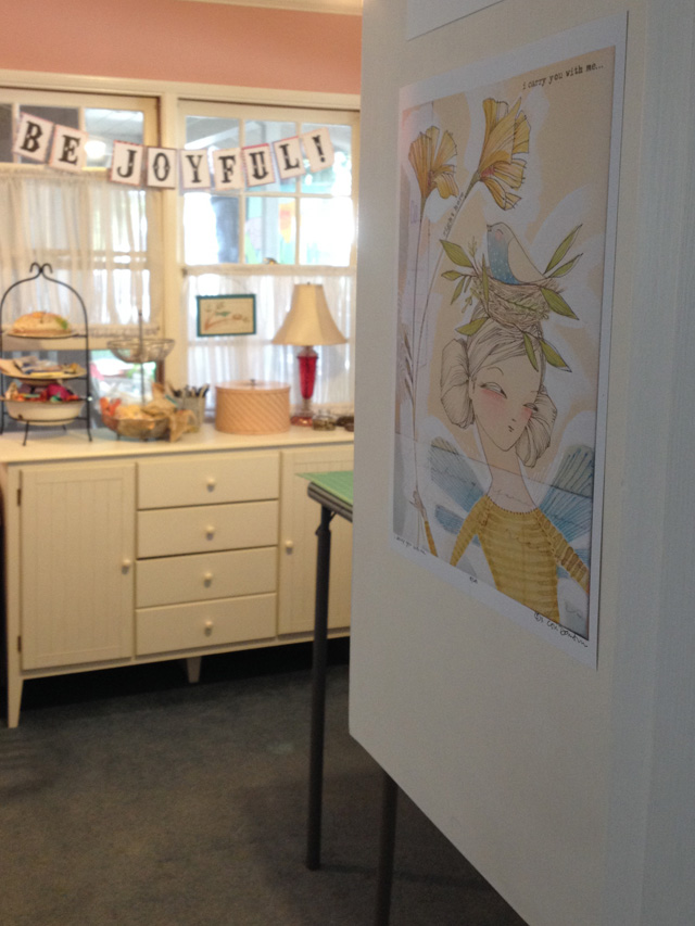 Mama Bleu Designs studio with a print by Cori Dantini