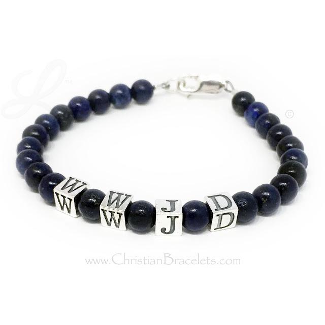 Dark Blue Lapis Lazuli WWJD Bracelet - What Would Jesus Do Jewelry