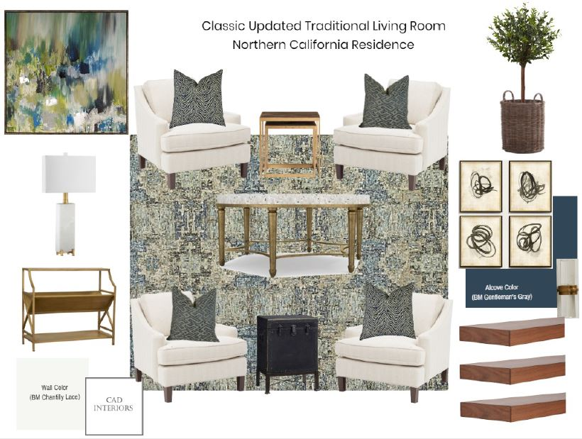 CAD Interiors interior design e-design online design decorating mood board transitional blue ivory white gold brass marble