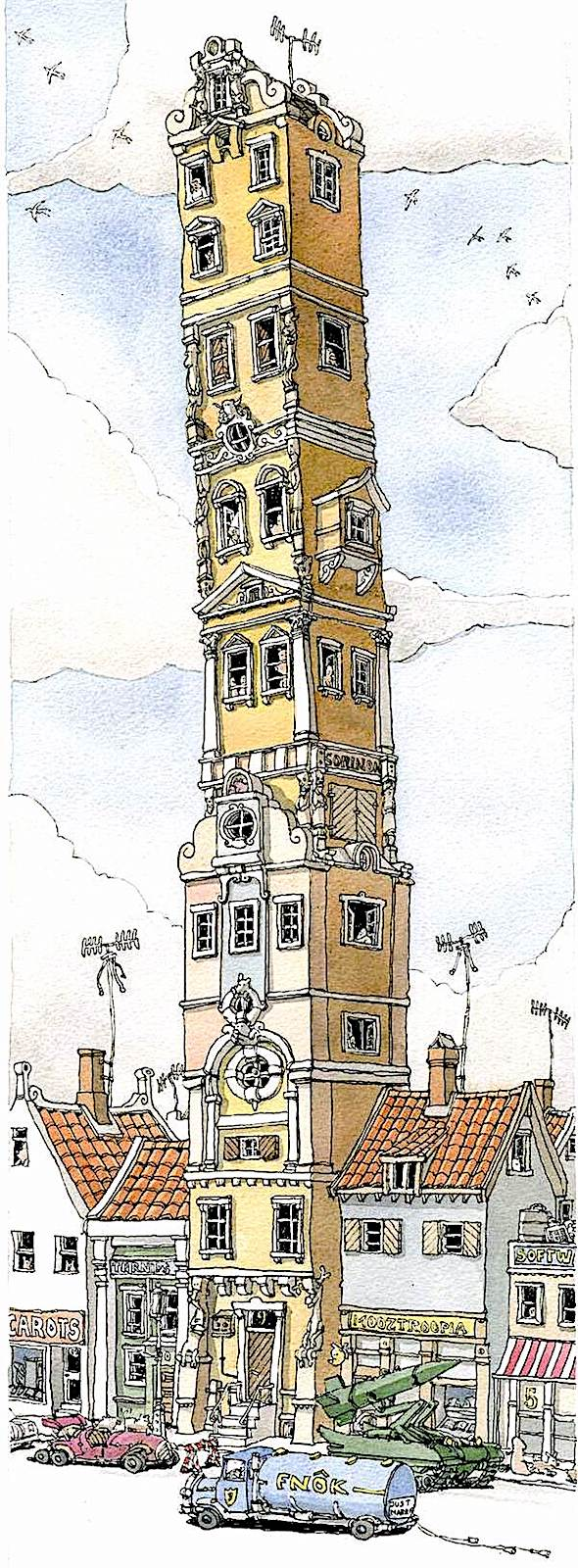 a Mattias Adolfsson drawing of a very tall apartment building in a town