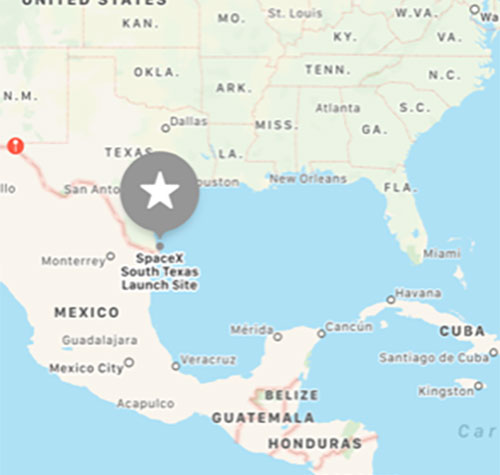 Relative location of SpaceX South Texas Launch Site (Source: Palmia Observatory)