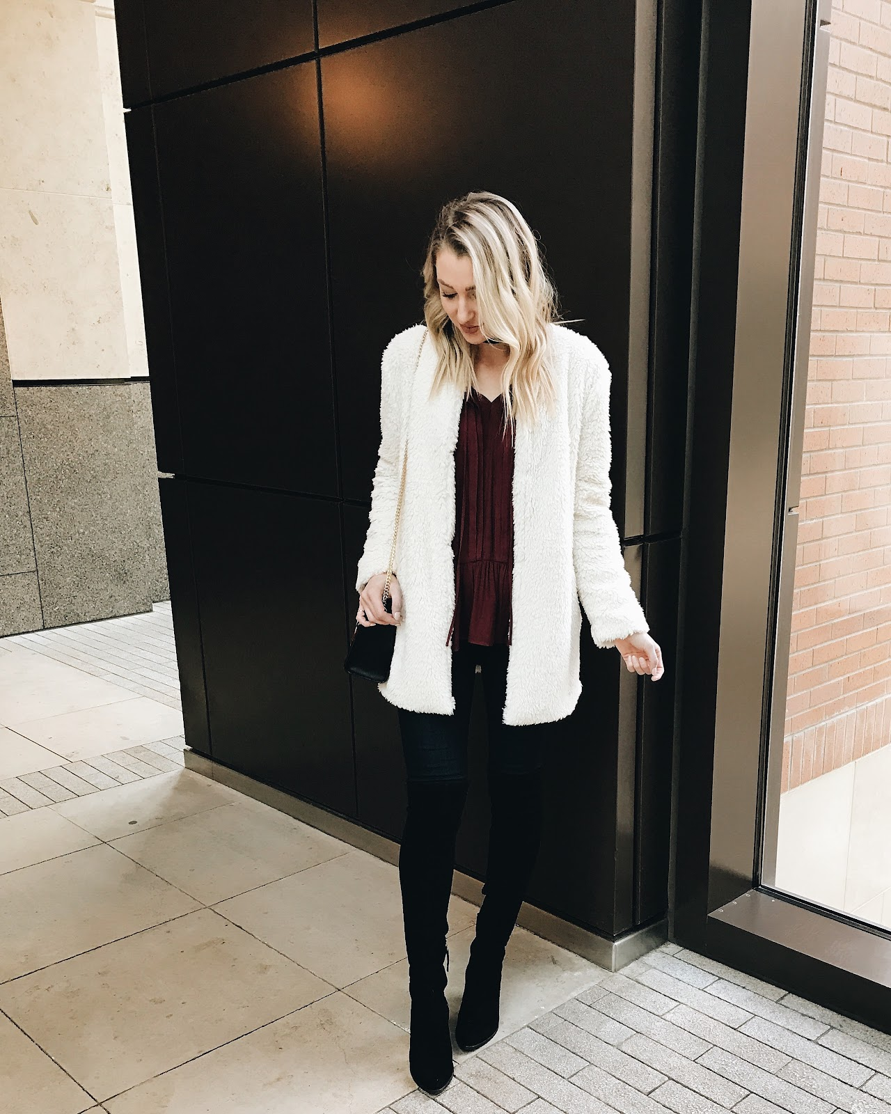Dressy casual with a cream teddy jacket
