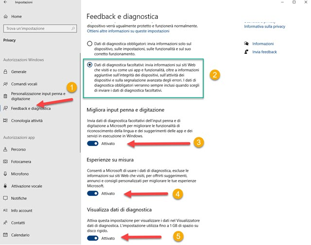 feedback e diagnostica in windows 10