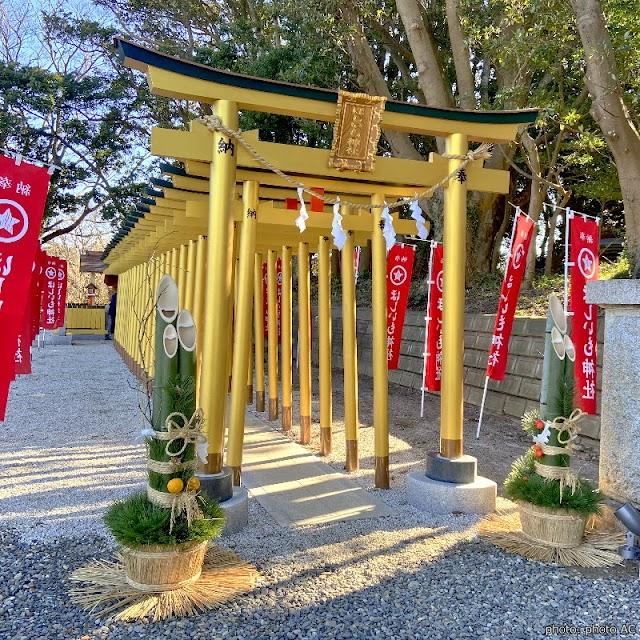 【堀出神社】德川光圀創建古老八幡神社 整排新建黃金鳥居在鄉間閃耀