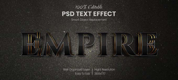 Empire Text Effect PSD Mockup
