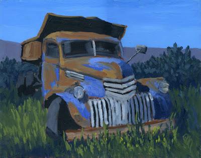 acrylic truck painting art abandoned rust