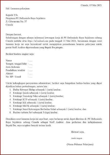 Contoh Application Letter Untuk Staff Auditor (Fresh Graduate) Berdasarkan Informasi Dari Website