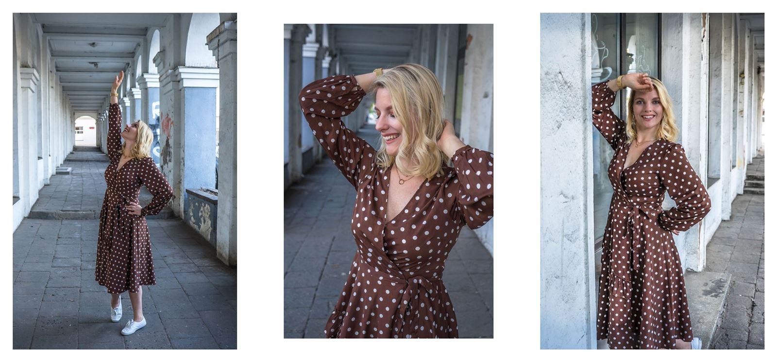 3 modny kombinezon sukienka w groszki jak nosić w grochy sukienki idealne ubranie na wesele w co ubrać się na wesele w lato na poprawiny na-kd opinie modne stylizacje na lato sukienki dla blondynki