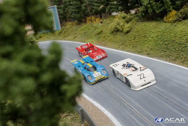 Slot Car Modelle 1.64, Custom Slotcar, Porsche 908-03 Nürburgring 1970 Sieger, Ferrari 312PB Nürburgring 1972 Jacky Ickx, Porche 1917 Gesipa Nürburgring 1970