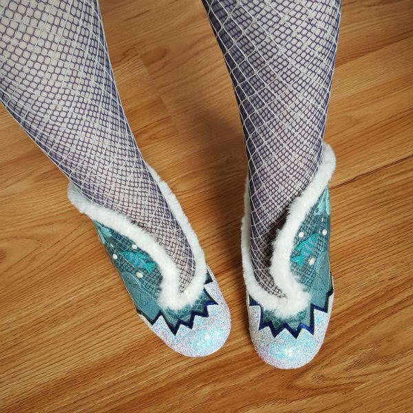 transparent blue shoes with white glitter toes and furry trim
