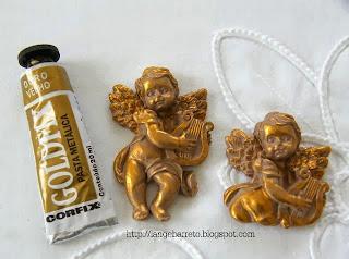 Anjo porcelana fria detalhes pasta goldfix da corfix.