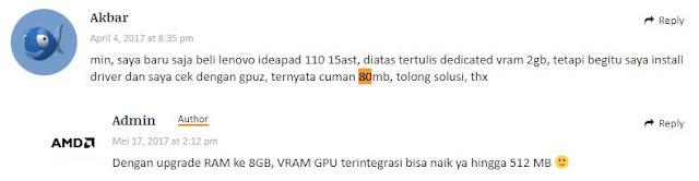 upgrade RAM ke 8GB, GPU terintegrasi bisa naik hingga 512MB