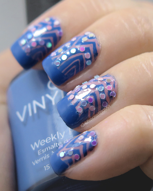 Nail Art Pink And Blue Stamping With Iridescent Glitter Placement