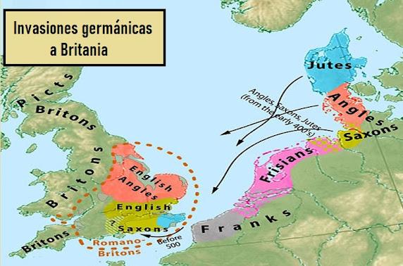 Invasión pueblos bárbaros, invasión de Britania. Sajones. El rey Arturo.
