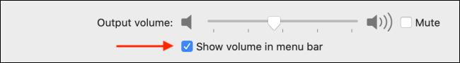 تمكين إظهار الصوت في خيار شريط القوائم