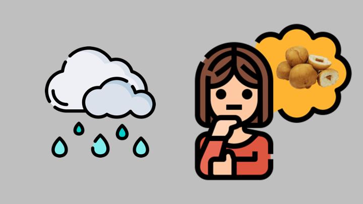 chuva e bolinhos fritos