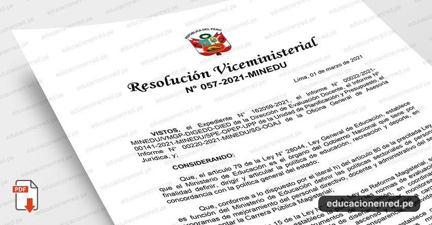MINEDU publicó Anexos de la Directiva para el Ascenso de Escala Magisterial 2021 (R. VM. N° 057-2021-MINEDU) www.minedu.gob.pe