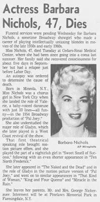 Barbara Nichols Dead