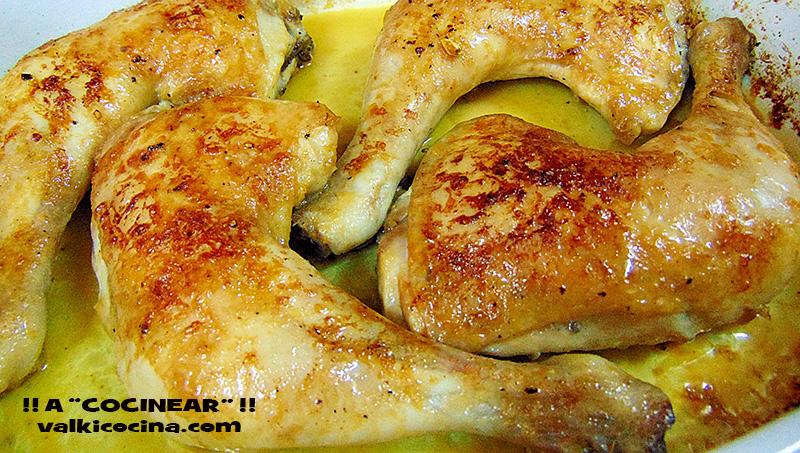 Muslos de pollo asado al limón