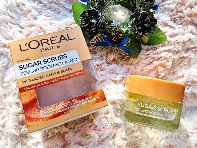 peeling cukrowy, recenzja  L'Oreal Paris Sugar Scrubs Glow Scrub  rozświetlający peeling cukrowy do twarzy i ust,