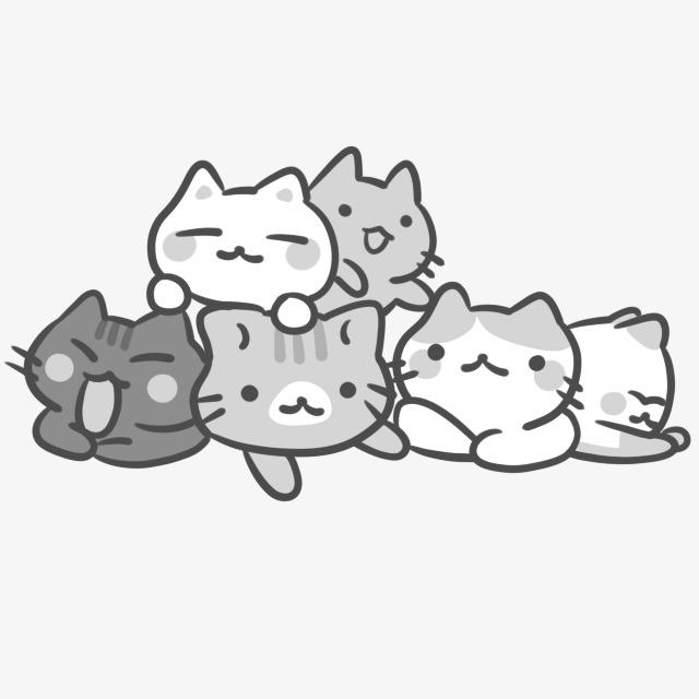 ilustracion familia de gatitos grises