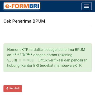 Cara cek penerima bantuan umkm bri di https://eform.bri.co.id/bansos/penerima_bpum
