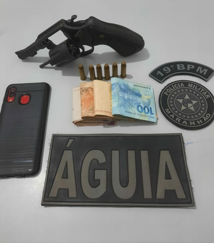 Polícia Militar prende membro de facção em Pedreiras e apreende revólver calibre 38.