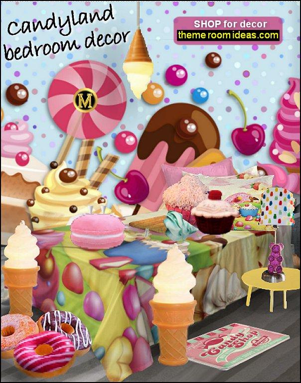 candy mural candy bedding ice cream rug ake shop mural cupcake pillows