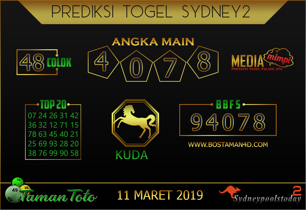 Prediksi Togel SYDNEY 2 TAMAN TOTO 11 MARET 2019