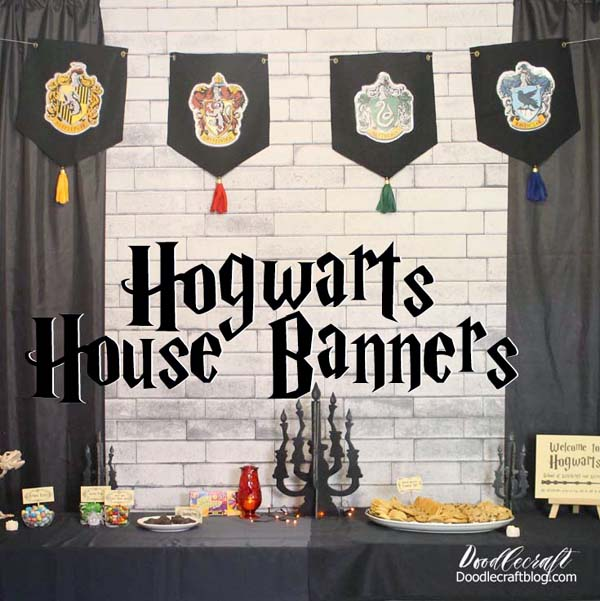 Harry Potter Hogwarts house banners with school house crests, easy DIY