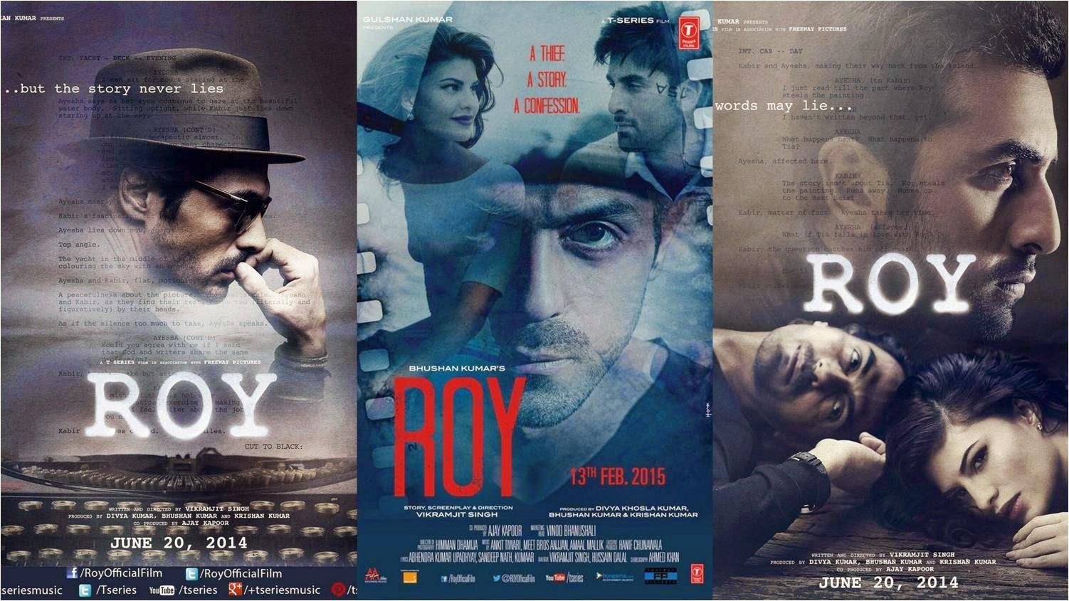 Ranbir Kapoor, Jacqueline Fernandez, and Arjun Rampal in Roy Posters