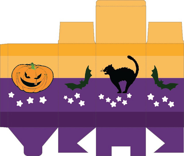 caja halloween rectangualr calabaza y gato negro