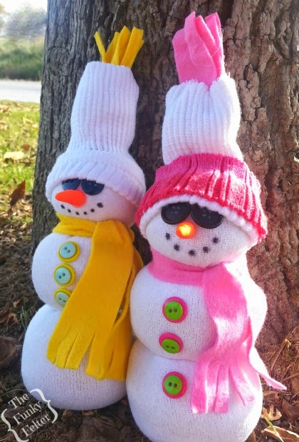 quick and easy winter craft tutorial about tube sock snowman by the funky felter