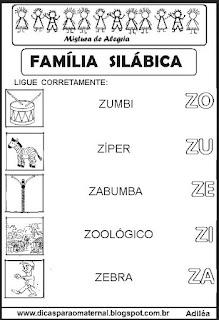 Famílias silábicas alfabetização letra Z