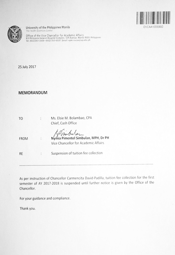 UP Manila memo tuition